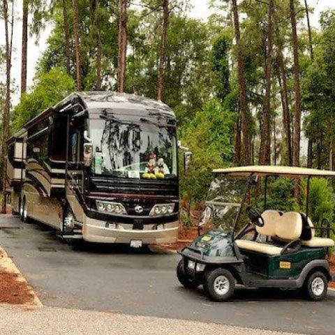 Rv camper with golf cart
