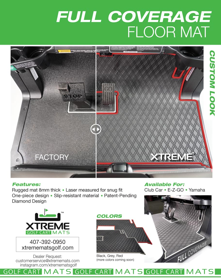 full coverage floor mat ad for xtreme golf cart mats
