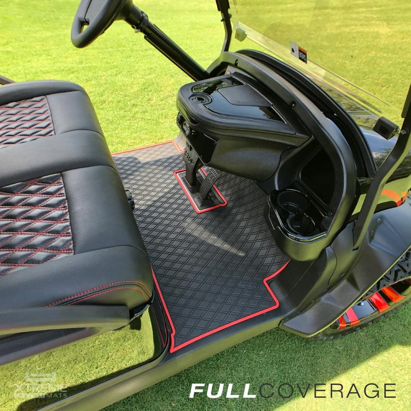 black golf cart on the green with diamond red stitching and mat