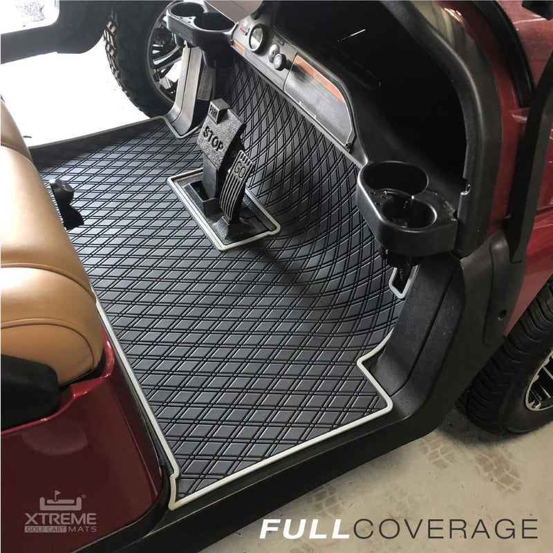burgundy golf cart with black and grey mat