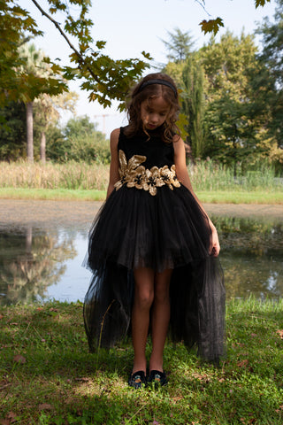 Gold dress with bronze beads and crystals