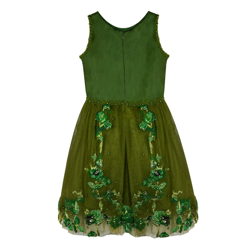 Dark Green Dress with Roses