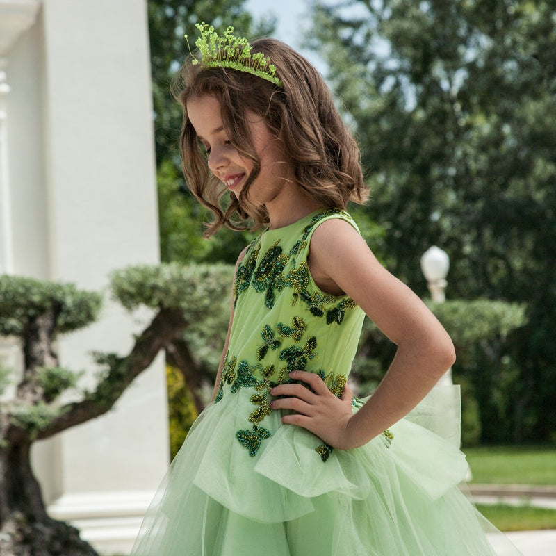 Green Dress with Roses