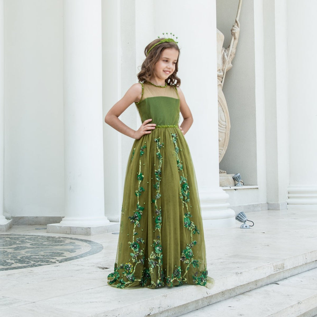 Dark Green Dress with Roses Embroidered with Glass Beads and Pearls