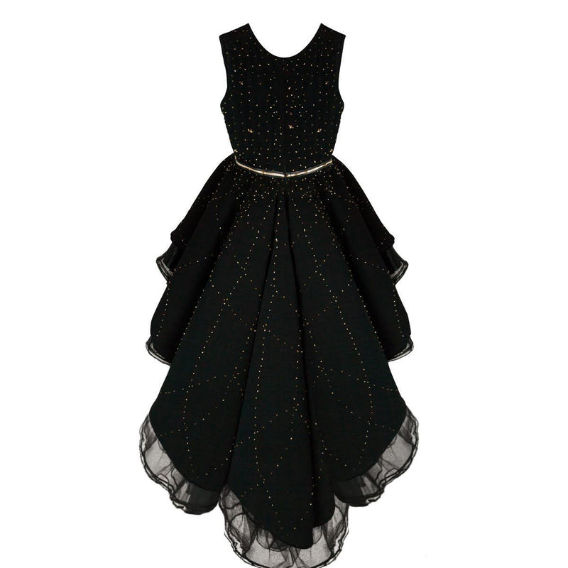 Flamingo's Black Dress Covered with Gold Glass Beads