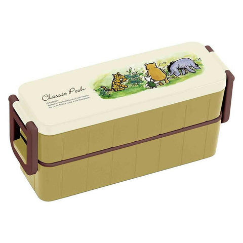 Classic Pooh Two Tier Bento Box 630ml by Skater - Bento&co Japanese Bento Lunch Boxes and Kitchenware Specialists