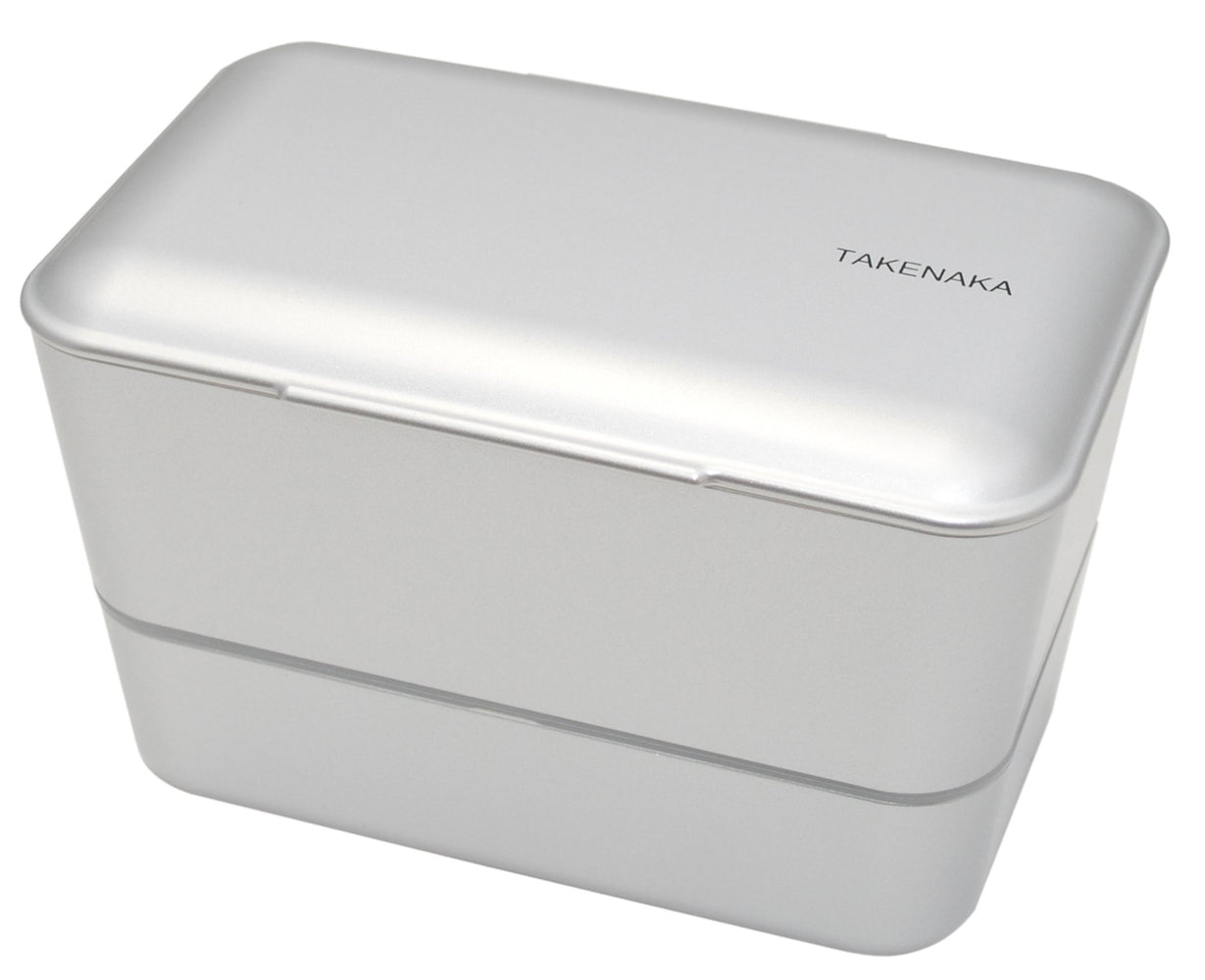 Expanded Double Bento Box | Silver by Takenaka - Bento&con the Bento Boxes specialist from Kyoto