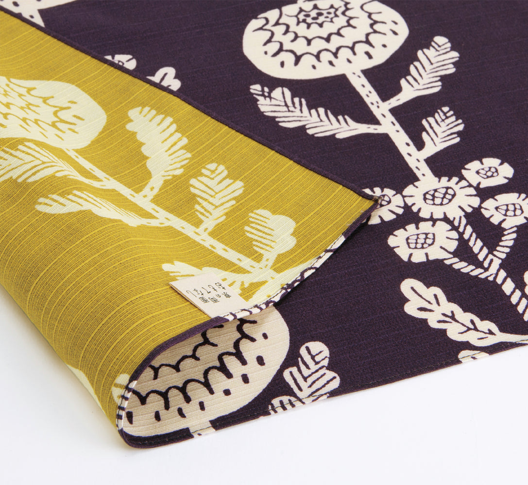 Double Sided Furoshiki Wrapping Cloth | Purple & Yellow Milkweed by Sanyo Shoji - Bento&co Japanese Bento Lunch Boxes and Kitchenware Specialists