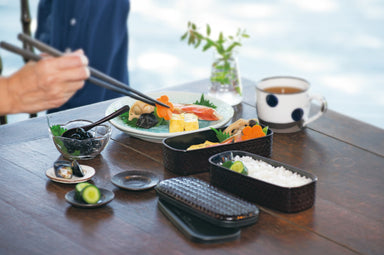 Ajiro Slim Two Tier Bento Box | Dark Brown by Hakoya - Bento&co Japanese Bento Lunch Boxes and Kitchenware Specialists