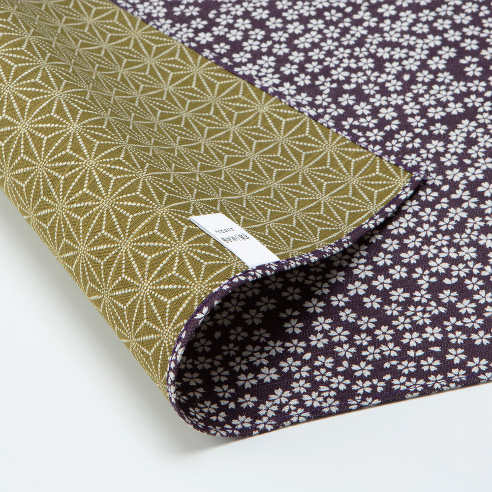 Double Sided Furoshiki Wrapping Cloth | Asanoha Sakura Purple & Green by Sanyo Shoji - Bento&co Japanese Bento Lunch Boxes and Kitchenware Specialists