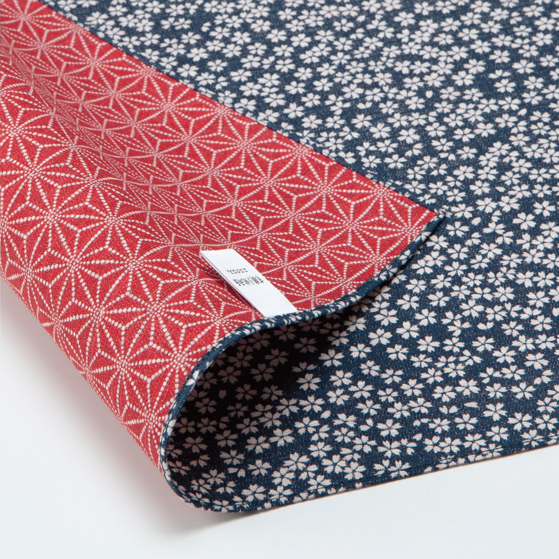 Double Sided Furoshiki Wrapping Cloth | Asanoha Sakura Navy & Red by Sanyo Shoji - Bento&co Japanese Bento Lunch Boxes and Kitchenware Specialists