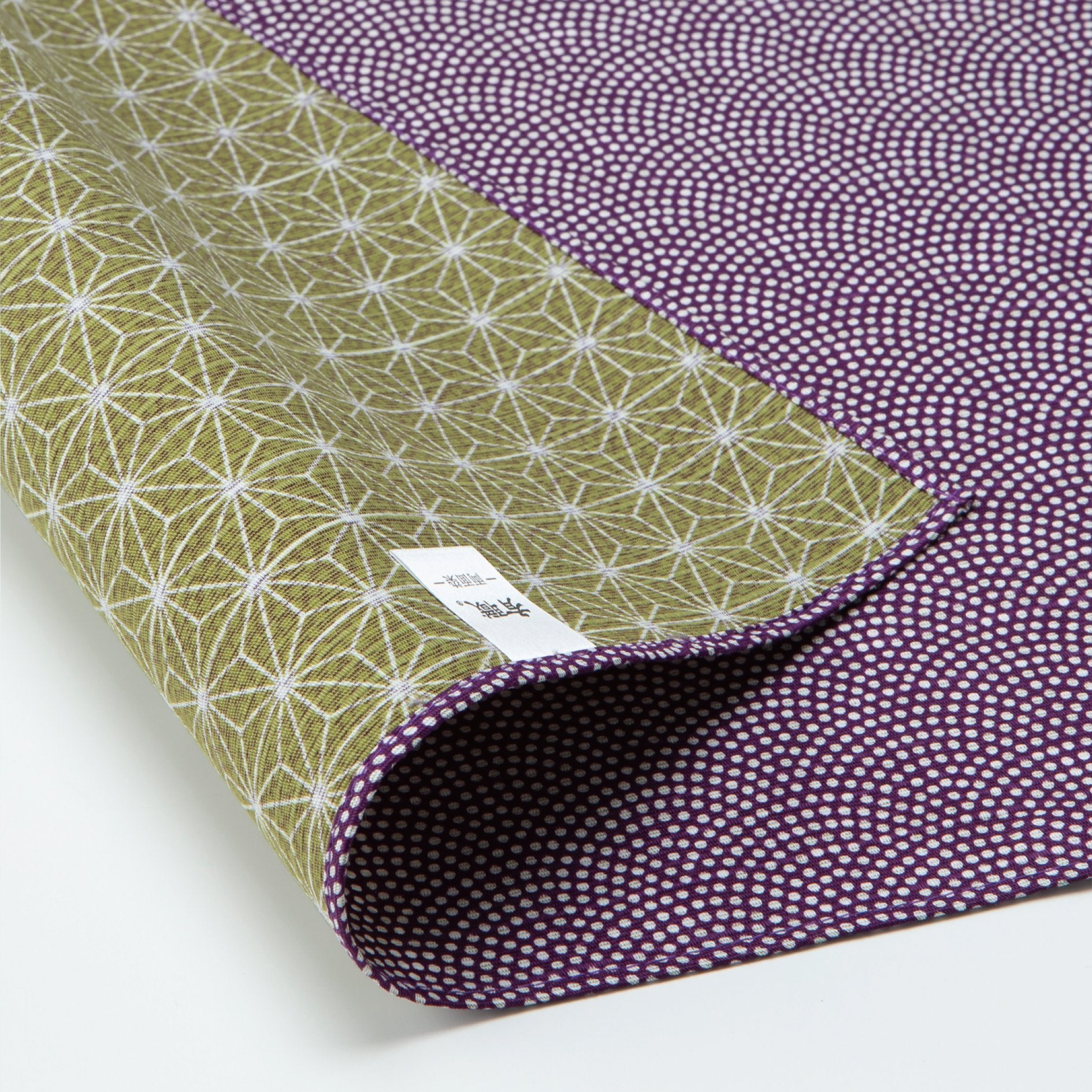 Double Sided Furoshiki Wrapping Cloth | Asanoha Nami Purple & Green