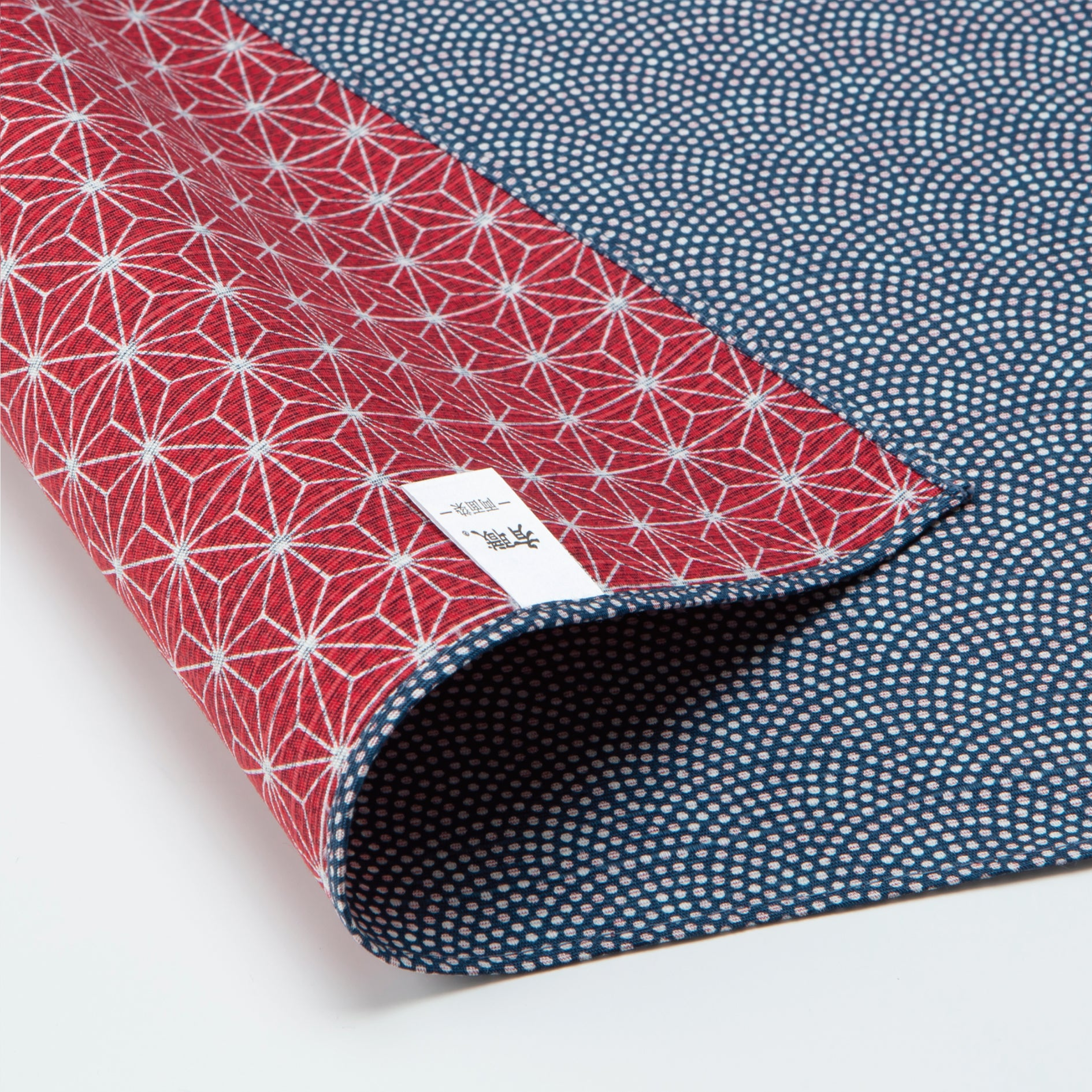 Double Sided Furoshiki Wrapping Cloth | Asanoha Nami Navy & Red