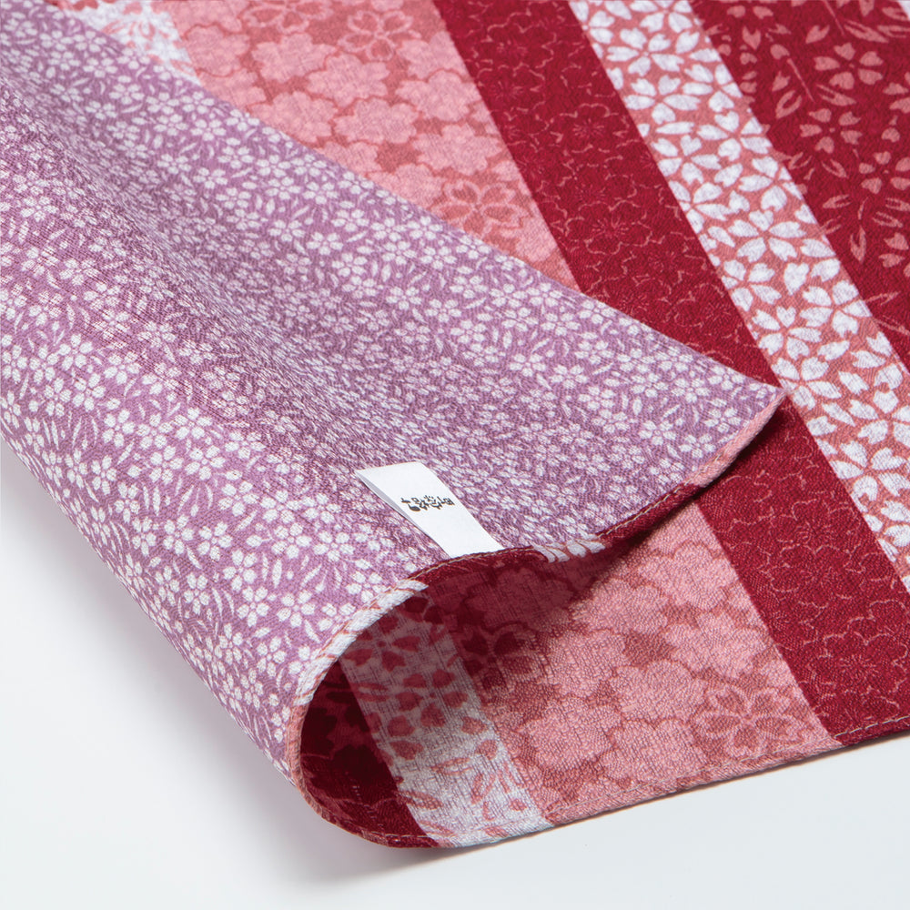 Double Sided Furoshiki Wrapping Cloth | Sakura Stripes Red & Pink by Sanyo Shoji - Bento&co Japanese Bento Lunch Boxes and Kitchenware Specialists