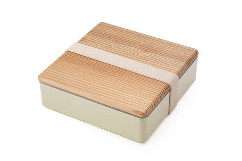 Wood Lid Ojyu Bento | Beige by Gel Cool - Bento&co Japanese Bento Lunch Boxes and Kitchenware Specialists