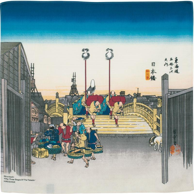 Hiroshige Ukiyo-e Furoshiki | Morning view of the Nihonbashi Bridge