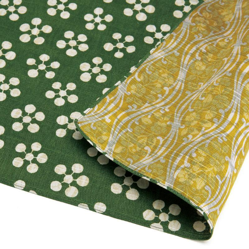 Double Sided Cotton Furoshiki Wrapping Cloth | Apricot Flowers Green