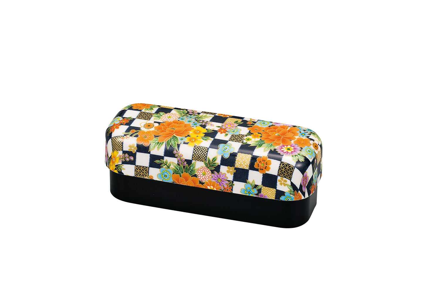 Ichimatsu Flower Bento Box Slim Navy by Hakoya - Bento&co Japanese Bento Lunch Boxes and Kitchenware Specialists