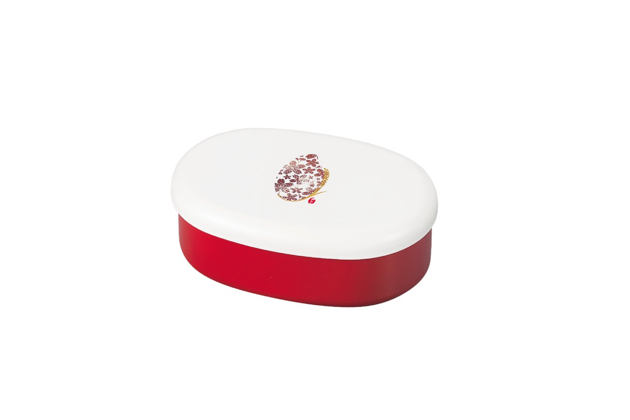 Komemon Lacquer Oval Bento | Red by Hakoya - Bento&co Japanese Bento Lunch Boxes and Kitchenware Specialists