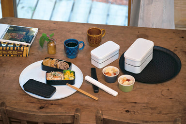 Nuri Ajiro Two Tier Rectangle Bento Box Medium | Black by Hakoya - Bento&co Japanese Bento Lunch Boxes and Kitchenware Specialists