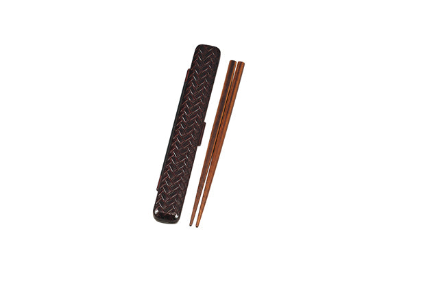 Ajiro Rectangle Chopsticks Set | Dark Brown by Hakoya - Bento&co Japanese Bento Lunch Boxes and Kitchenware Specialists