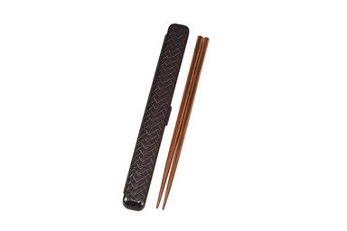 Ajiro Rectangle Chopsticks Set Large | Dark Brown by Hakoya - Bento&co Japanese Bento Lunch Boxes and Kitchenware Specialists