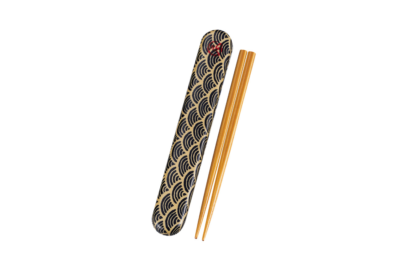 Wafu Cloth Chopsticks Set | Ocean Wave by Hakoya - Bento&co Japanese Bento Lunch Boxes and Kitchenware Specialists