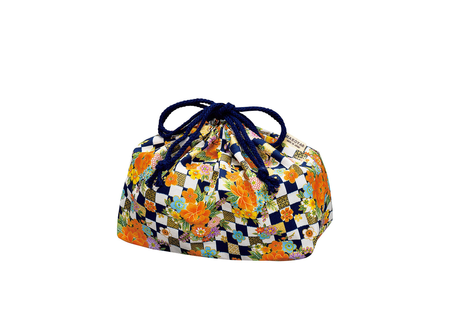 Ichimatsu Flower Drawstring Bag | Navy by Hakoya - Bento&co Japanese Bento Lunch Boxes and Kitchenware Specialists