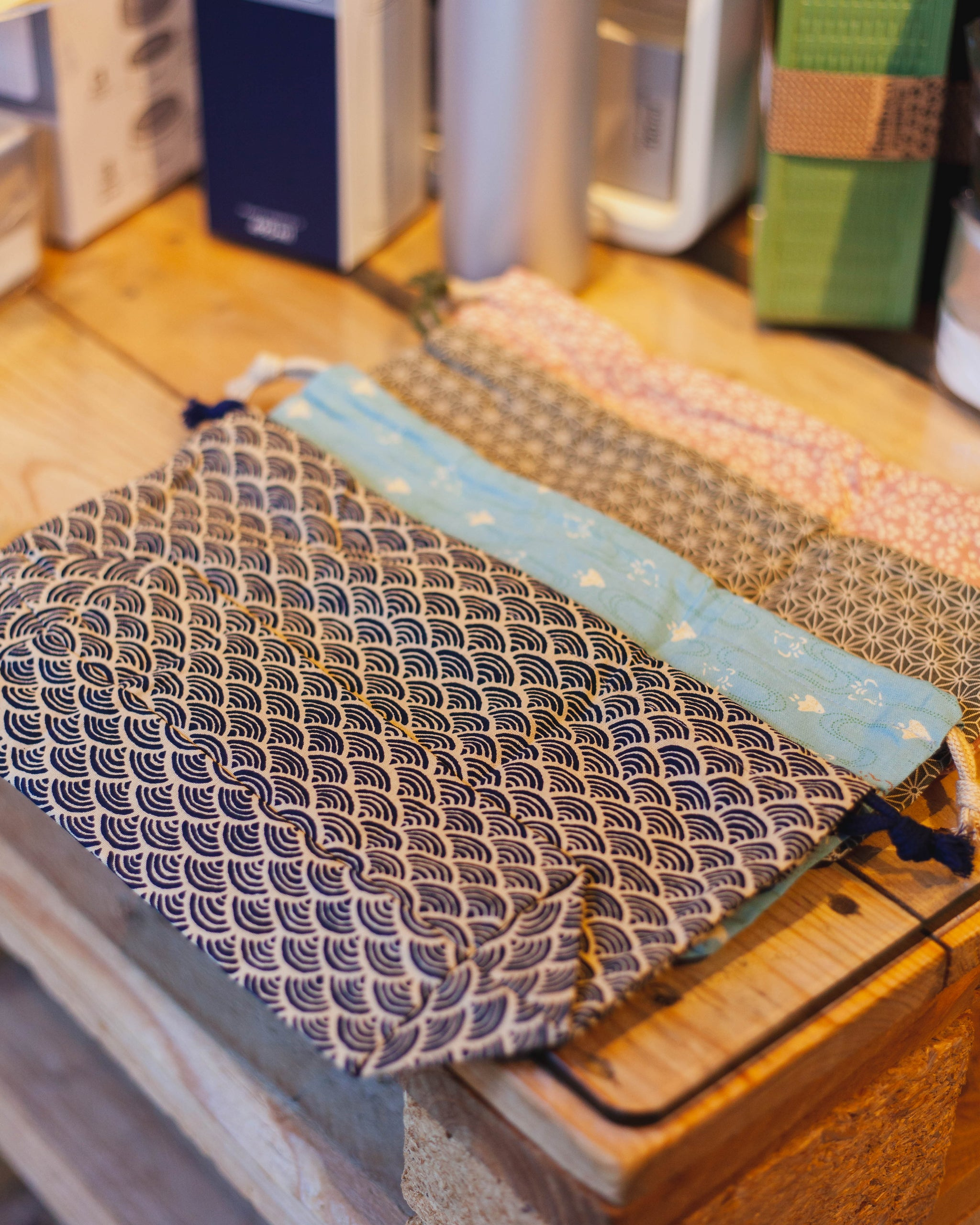Wafu Cloth Bag | Ocean Wave by Hakoya - Bento&co Japanese Bento Lunch Boxes and Kitchenware Specialists