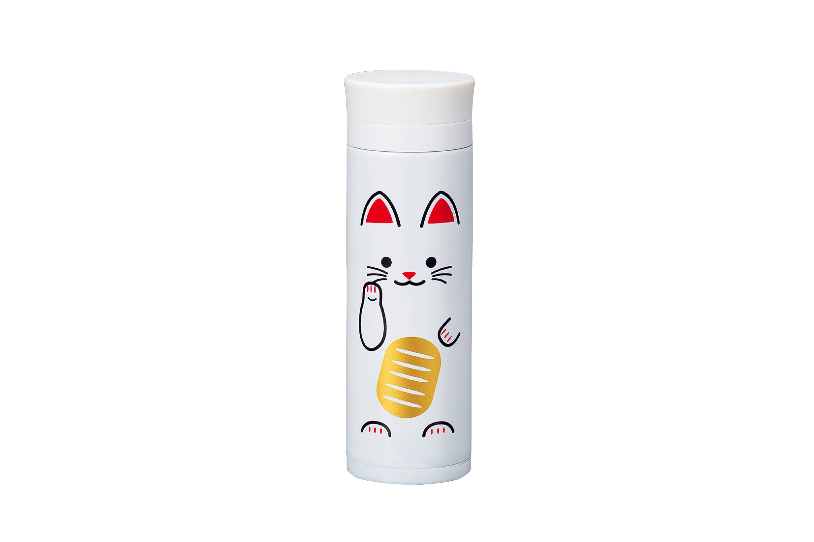 Manekineko Stainless Steel Bottle | White by Hakoya - Bento&co Japanese Bento Lunch Boxes and Kitchenware Specialists