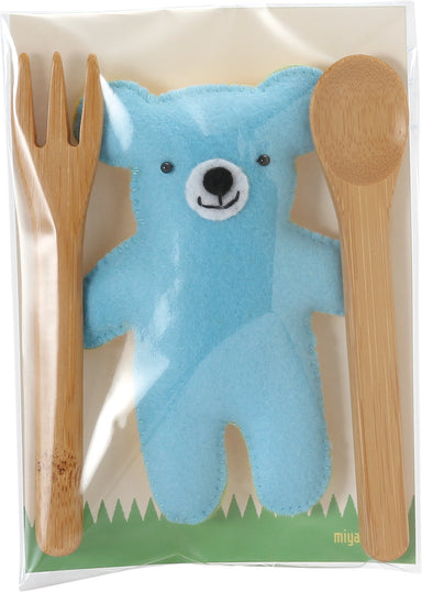 Bamboo Bear Kids Cutlery Set | Blue by Yamaki - Bento&co Japanese Bento Lunch Boxes and Kitchenware Specialists