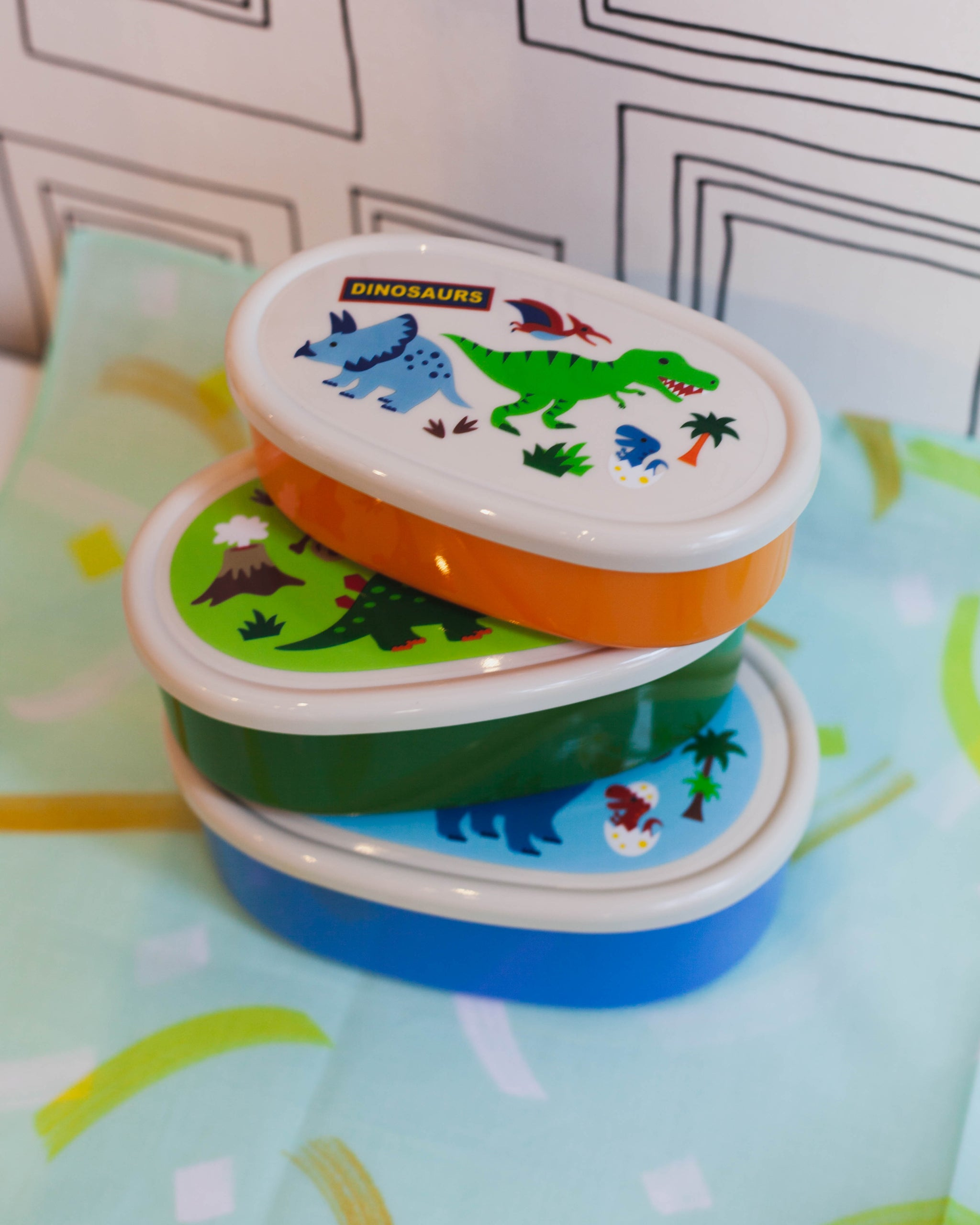 Dinosaurs Lunch Box Three Piece Set by Skater - Bento&co Japanese Bento Lunch Boxes and Kitchenware Specialists