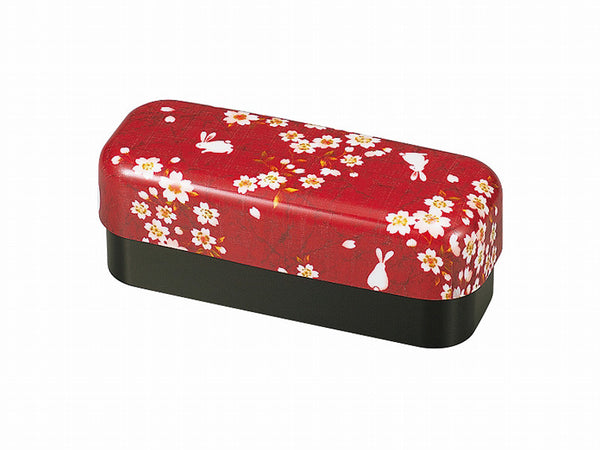 Sakura Rabbit Slim Compact Bento Box | Red