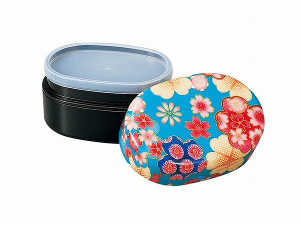 Flower Yuzen Oval Bento Box | Blue