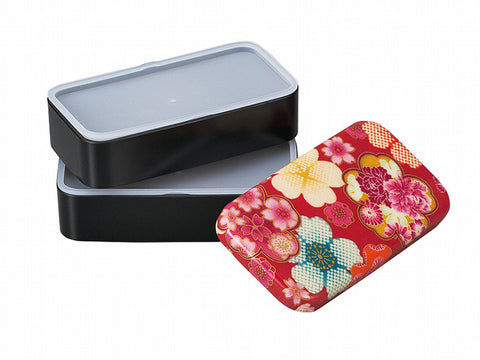 Flower Yuzen Long Bento Box | Red by Hakoya - Bento&con the Bento Boxes specialist from Kyoto