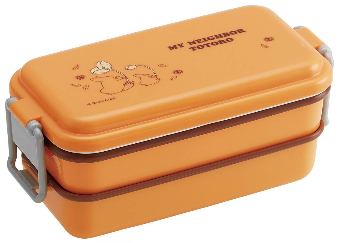 Totoro Harvest Two Tier Side Lock Bento Box 660ml | Orange by Skater - Bento&co Japanese Bento Lunch Boxes and Kitchenware Specialists