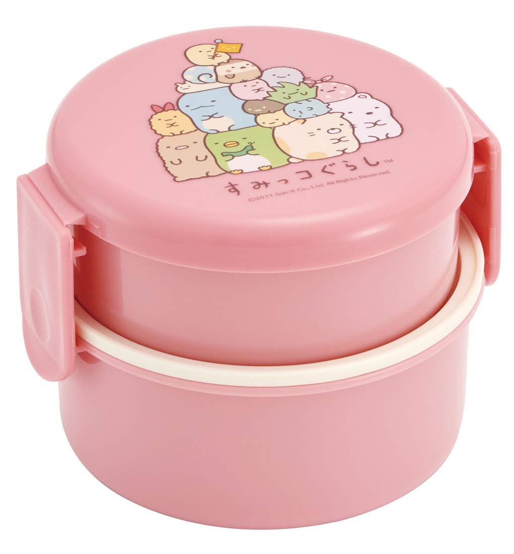 Sumikko Gurashi Round Two Tier Bento | Pink by Skater - Bento&co Japanese Bento Lunch Boxes and Kitchenware Specialists