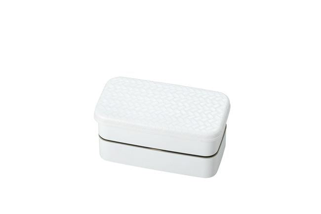 Nuri Ajiro Two Tier Rectangle Bento Box Small | White by Hakoya - Bento&co Japanese Bento Lunch Boxes and Kitchenware Specialists