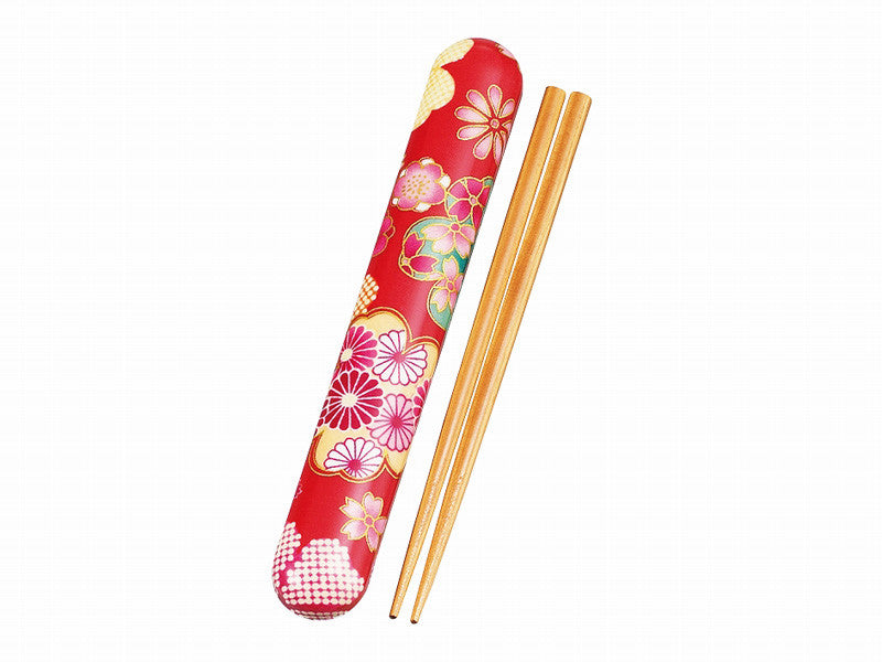 Flower Yuzen Chopsticks Set | Red by Hakoya - Bento&co Japanese Bento Lunch Boxes and Kitchenware Specialists
