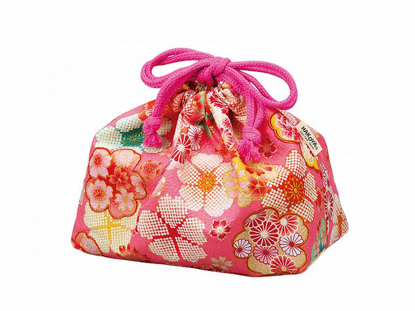 Flower Yuzen Drawstring Bag | Pink
