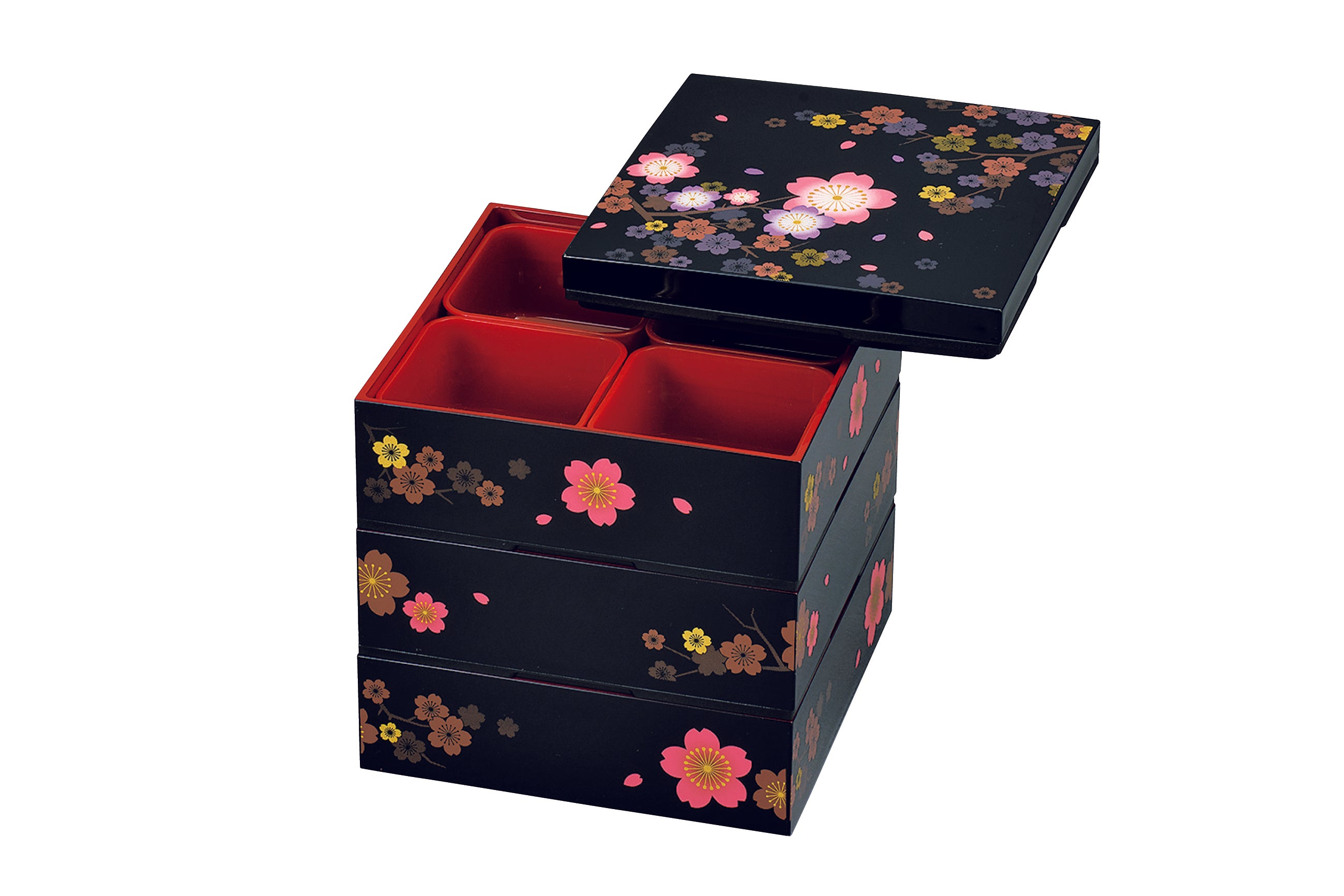 Colorful Sakura Three Tier Picnic Bento Box | Large by Hakoya - Bento&co Japanese Bento Lunch Boxes and Kitchenware Specialists