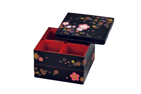 Colorful Sakura Two Tier Picnic Bento Box | Large by Hakoya - Bento&co Japanese Bento Lunch Boxes and Kitchenware Specialists