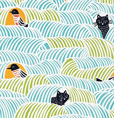Furoshiki Wrapping Cloth Cats & Birds Large | Green by Yamada Seni - Bento&co Japanese Bento Lunch Boxes and Kitchenware Specialists