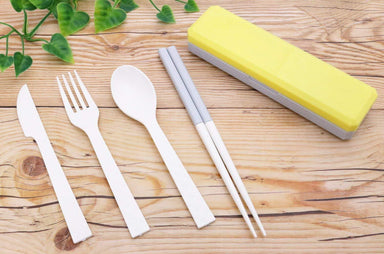 GO OUT Cutlery Set | Primrose Yellow by Kokubo - Bento&co Japanese Bento Lunch Boxes and Kitchenware Specialists