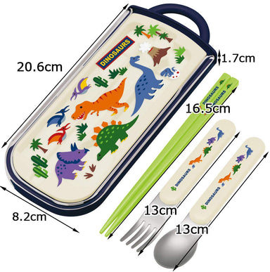 Dinosaurs Slide Cutlery Trio Set by Skater - Bento&co Japanese Bento Lunch Boxes and Kitchenware Specialists