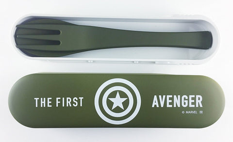Avengers Captain America Spoon and Fork Cutlery Set - Green and White by Yaxell - Bento&con the Bento Boxes specialist from Kyoto