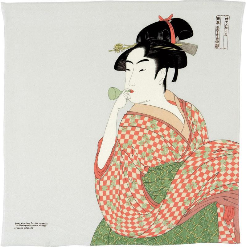 Utamaro Ukiyo-e Furoshiki Rayon | A Woman Playing A Poppin Light Gray