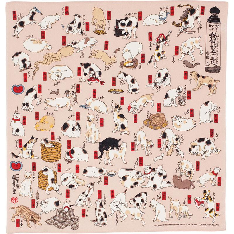 Kuniyoshi Ukiyo-e Furoshiki Rayon | Cats showing The Fifty Three Stations Of The Tokaido