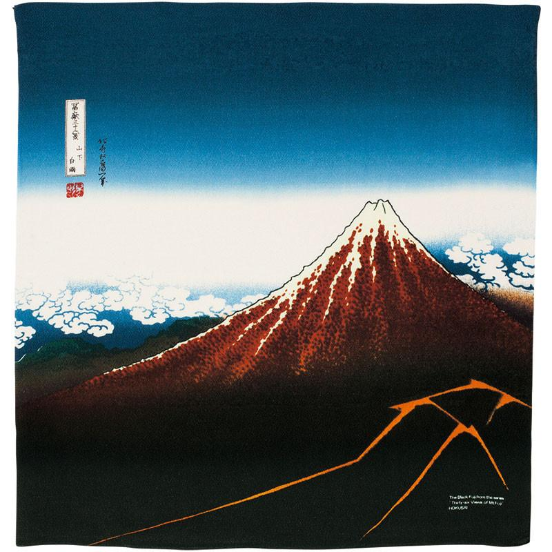 Hokusai Ukiyo-e Furoshiki Rayon | Rainstorm Beneath the Summit