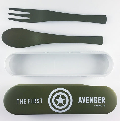 Avengers Captain America Spoon and Fork Cutlery Set - Green and White by Yaxell - Bento&co Japanese Bento Lunch Boxes and Kitchenware Specialists